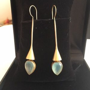 Gold covered sterling silver aquamarine earrings